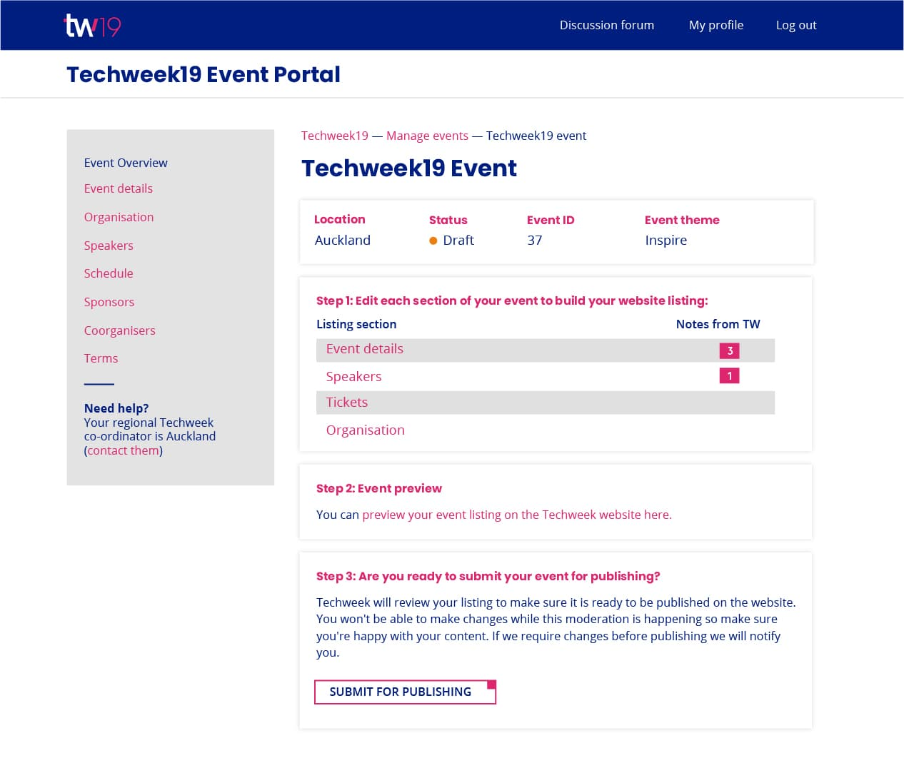 Techweek Event portal screen