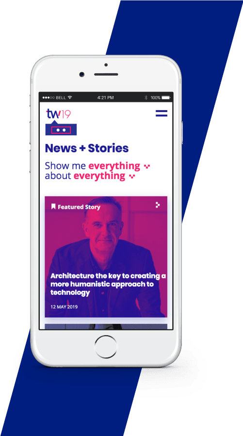 Mobile phone showing the Techweek redesign