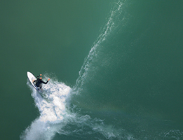 Birds eye view of surfer image