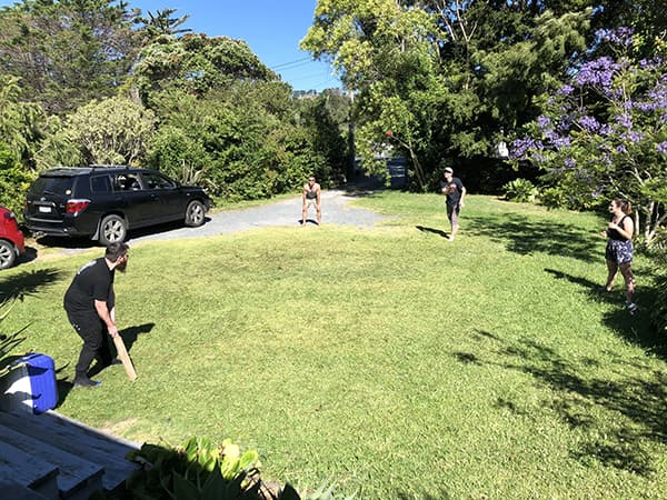 Wide shot of backyard with team playing cricket